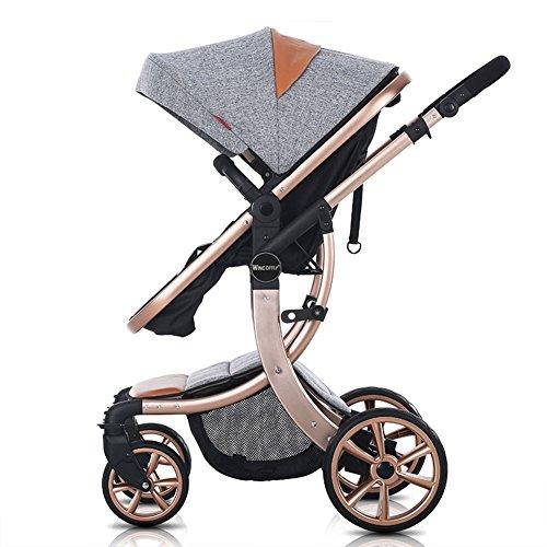 WINGOFFLY-Luxury-Newborn-Baby-Pram-Infant-Foldable-Anti-shock-High-View-Stroller-PushchairGrey