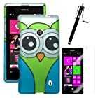 MINITURTLE, Slim Fit 2 Piece Snap On Protector Hard Phone Case Cover, Stylus Pen, and Clear Screen Protector Film 3 in 1 Accessory Combo for Windows 8 Nokia Lumia 521 (Owl)