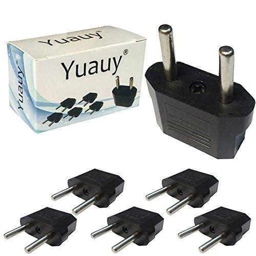 Yuauy 5 PCS US USA to EU Euro Europe Power Jack Wall Plug Converter Travel Adapter Adaptor (Plug Converters compare prices)