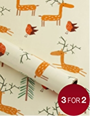 Fun Stags & Robins Christmas Wrapping Paper