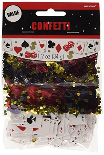 Amscan Fun Casino Value Pack Party Foil Confetti Decoration, 1.2 oz, Silver/Gold/Black/Red