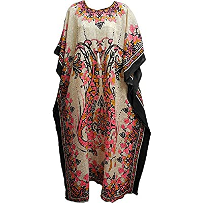 Bohemian Crepe Caftan Cover-Up Hippie Gypsy Chic #70 Beige & Pink