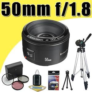 Canon EF 50mm f/1.8 II SLR Lens for Canon EOS 5D Mark II 7D T3i T2i T1i Xti XSi 60D SLR Cameras 3 Piece Filter Kit Tripod DavisMAX Bundle