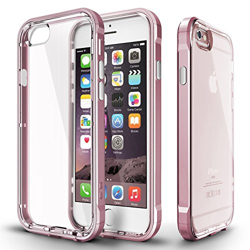 "iPhone 6s Case, AmiCool Cellphone Cover 2-in-1 PC Frame & Transparent TPU Back Case Shockproof phone case for Apple iPhone 6/iPhone 6s with 4.7"" Screen-Rose Gold"