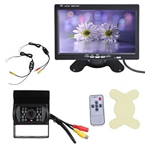 IMAGE® 7 inch TFT LCD Digital Car Vehicle Rearview Monitor With Wireless Night Version Car Reverse Backup Camera Kit