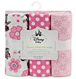 Disney Minnie Mouse Receiving Blankets for Baby,3 Pack,100% Cotton,30x30