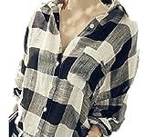 (カエナリエ)Kaenarie ロング ブロック チェック シャツ レディース オーバーサイズ 綿 黒 白 ドルマン S M L XL (S)
