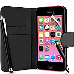 Supergets® Flip Pocket PU Leather Case Cover For Apple Iphone 5C / 5 C+ Screen Protector , Touch Screen Stylus and Polishing Cloth Black ( Not compatible with Iphone 5 , 5S , IP4 )
