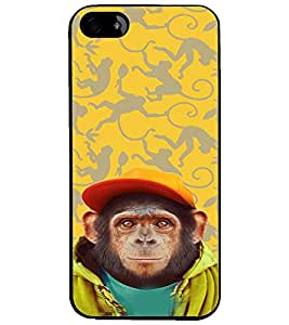 PrintDhaba Cute Monkey D-3653 Back Case Cover for APPLE IPHONE 4 (Multi-Coloured)