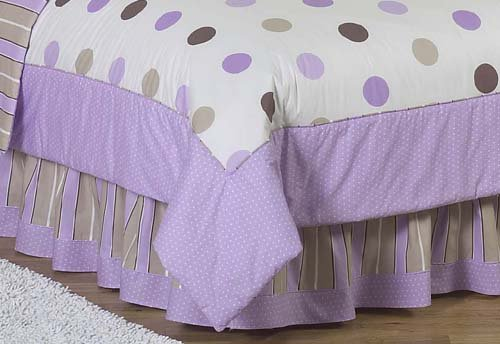 Purple And Brown Modern Polka Dots Queen Kids Childrens Bed Skirt By Sweet Jojo Designs front-226841
