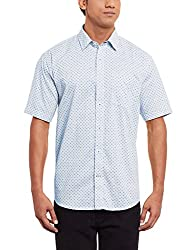 Greenfibre Men's Casual Shirt (77IT_40_White and Blue)