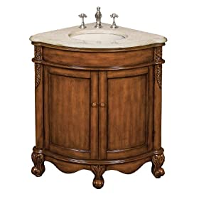 Belle Foret BF80060R Corner Single Basin Bathroom Vanity, Vintage Oak