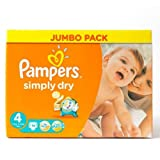 Pampers Simply Dry Nappies Size 4 Jumbo Pack 74 per pack
