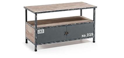 Die Form–erutna Mobile TV aus Holz Tannenholz und Struktur aus Metall