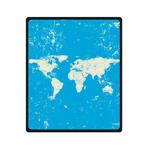 Personalized Fashion Retro Art World Map Picture Fleece Blanket 50 X 60 back-1070295