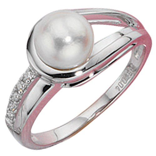 Women's Ring Freshwater Pearl Diamonds Diamonds 585 white gold 23 mm