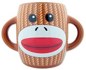 Unique Collectors Gift Sock Monkey Design Brown Ceramic Hot Cold Drink Beverage Mug Cup Drinkware