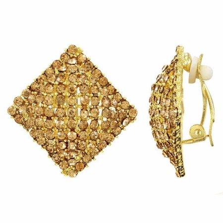 Betsie's Square Rhinestone Clip On Earrings - Gold