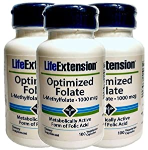 Life Extension Optimized Folate (L-Methylfolate), 1000 mcg 100 vegetarian capsules (3 Pack)
