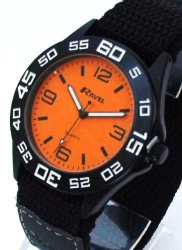 Mens/Gents Orange Sports Watch. Large Easy Read Dial (4cm). Long Velcro Strap (22cm ). (R1601.44m)