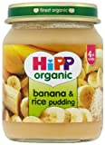 HiPP Organic Stage 1 From 4 Months Banana and Rice Pudding 6 x 125 g (Pack of 2, Total 12 Pots)