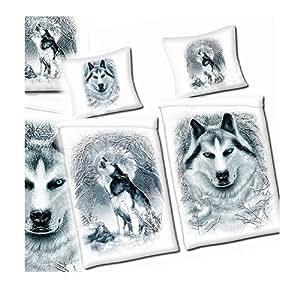 Parure linge de lit housse de couette taie d oreiller - Housse de couette loup ...