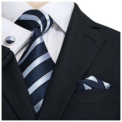 Landisun 20N Stripes Mens Silk Necktie Set:Tie+Hanky+Cufflinks Navy Blue White, 3.25