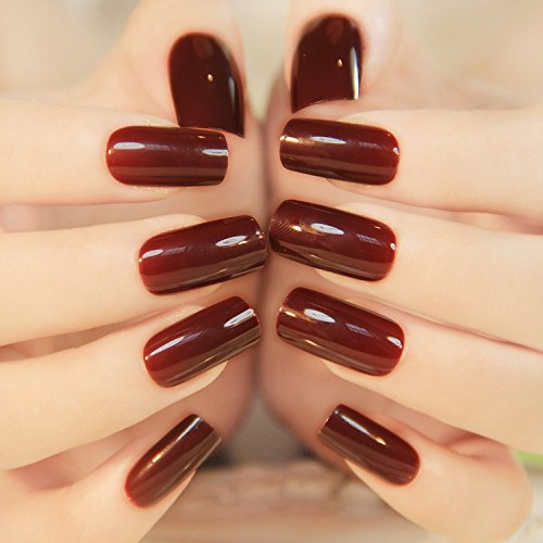 [24 Pieces French High Light Texture Color Full Cover Nails Tips Special Brown Red Long Square False] (Red Fake Nails)