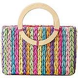 Tonwhar® Rainbow Stripes Corn Husk Woven Bag Summer Beach Straw Bag