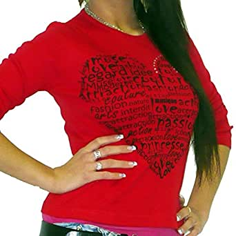 Amour: T-shirt Femme manches longues imprimé ONE IN THE CITY - Red, M