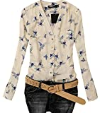 Lovaru Womens Fashion Elegant Bird Print Blouse Long Sleeve Casual Slim Shirts