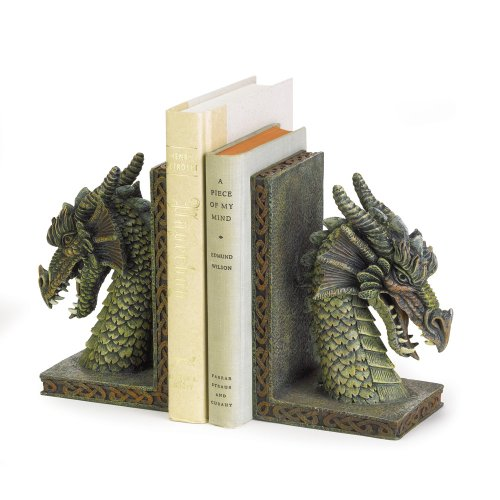 Gifts & Decor Fierce Dragon Mystical Muted Soft Green Color Bookend