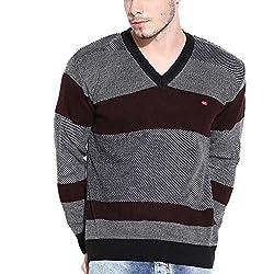 Duke Striped V-neck Casual Back Men's Sweater by Returnfavors