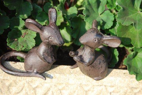 Pair Of Cute Mice Cast Iron Garden Ornament