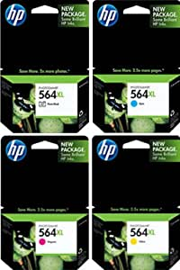 Genuine HP 564XL 4 COLOR-Pack Ink Cartridges -Photo, Cyan, Magenta, Yellow (NO BLACK) NOT FOR PHOTOSMART PLUS PRINTERS