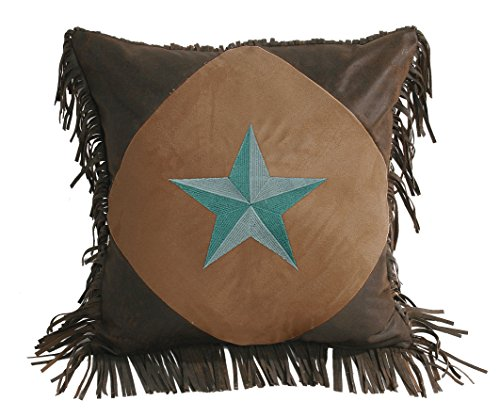 Hiend Accents Diamond Shape Star Pillow, 18 By 18-Inch, Turquoise