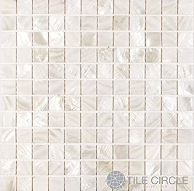 """Sample Size 4"""" x 4"""" Mother of Pearl White 1"""" x 1"""" Squares for Backsplash and Bathroom Walls and Floors"""
