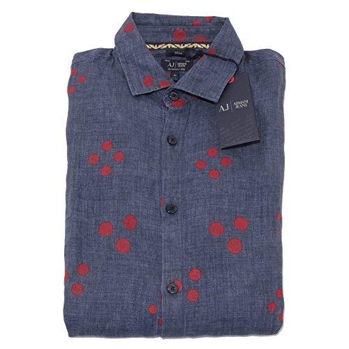 0353P camicia lino blu ARMANI JEANS camicie uomo shirt men [M]