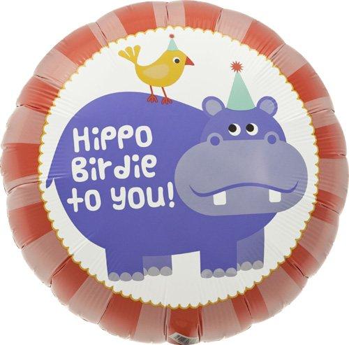 Hippo Birdie Birthday Helium Foil Balloon - 18 inch