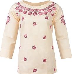 ALMAS Lucknow Chikan Women's Cotton Regular Fit Kurti (Cream and Pink)