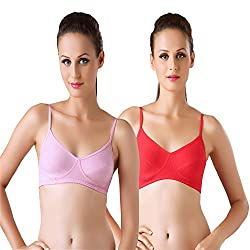 Bodyline Hosiery Non Padded Red and Pink Bra