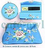 Fission 1 Pc Fashion Chinese Handmade Floral Brocade Silk Cosmetic Mirror&Lipstick Box&Purse