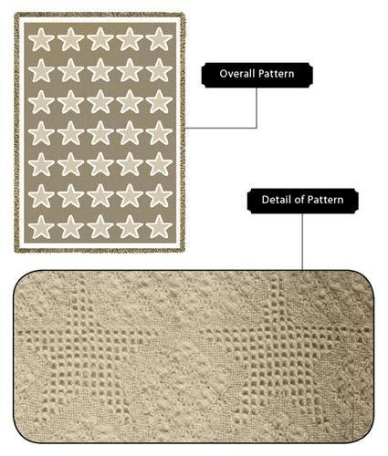 Pure Country Weavers Stars Natural Blanket 1107-A 48 Inches Wide By 69 Inches Long, 100% Cotton