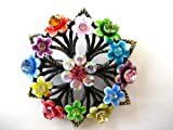 VINTAGE REPRODUCTION COLORFUL FLORAL WREATH PIN BROOCH