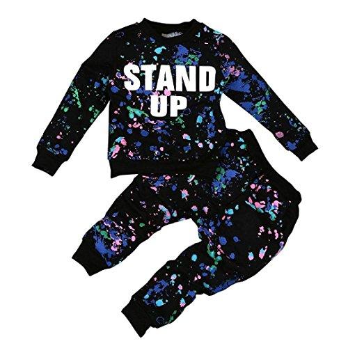 CocoMarket Baby Kid Girls Boy Color Paint Letters Long Sleeve Sweater+Pant Sports Suit (140, Black)