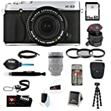 Fujifilm X-E2 Mirrorless Digital Camera with 18-55mm Lens (Silver) with 64GB Deluxe Accessory Kit