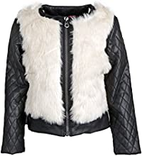 Catherine Malandrino Big Girls Fur Moto Jacket with PU Leather Quilted Sleeves