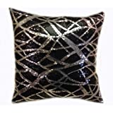 Decorative Sequins Throw Pillow 17x17'' Black/Silver