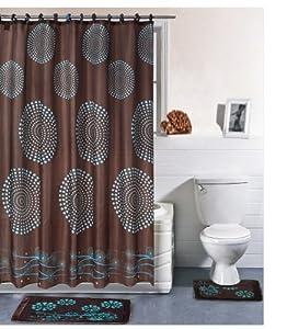 Dainty Home 15-Piece Bathroom Shower Curtain/Rug Set, French Swirl Brown
