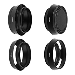 SIOTI Camera Standard Hollow Vented Metal Lens Hood with Cleaning Cloth and Lens Cap Compatible with Leica/Fuji/Nikon/Canon/Samsung Standard Thread Lens (Color: Standard Vented, Tamaño: 46mm)